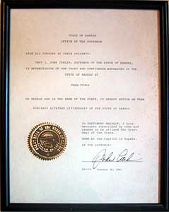 Honorary Lifetime Citizenship of the State of Kansas