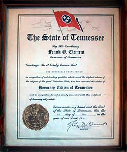 Honorary Citizenship of the State of Tennessee